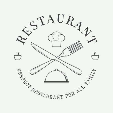 knife fork: Vintage restaurant logo, badge or emblem. Vector illustration Illustration