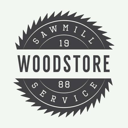 Vintage sawmill label, emblem, logo or badge,