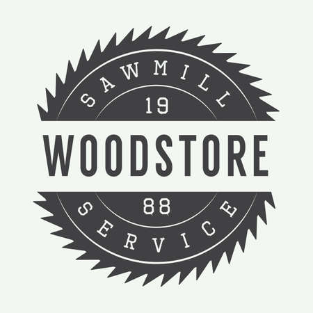 Vintage sawmill label, emblem, logo or badge, Фото со стока - 45515617
