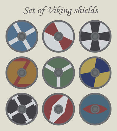 vikingo: Conjunto de escudos viking vector, Vectores