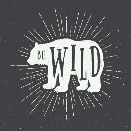 slogan: Oso del vintage con el lema. Ilustración vectorial Vectores