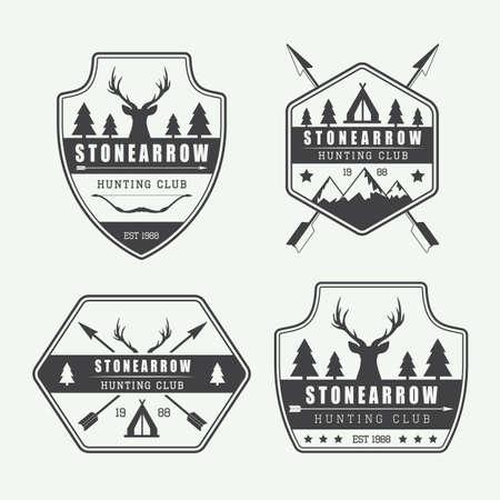 insignias: Conjunto de etiquetas de caza vintage, logotipos e insignias,