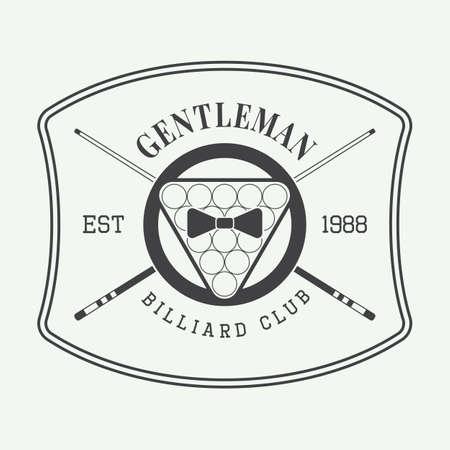 pocket: Vintage billiard label, emblem and logo. Vector illustration Illustration