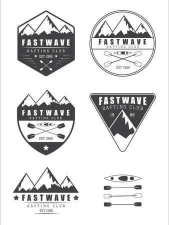 river rafting: Set if vintage rafting vector logo, labels and badges