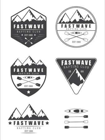 Set if vintage rafting vector logo, labels and badges