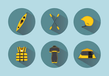 diving save: Rafting flat vector set icons with long shadows