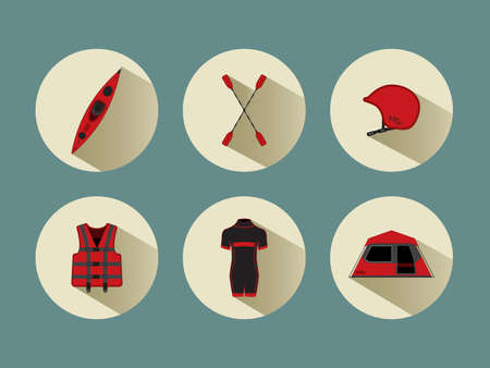 diving save: Rafting set icons with shadows in red color, eps 10