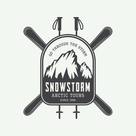 ski: Vintage mountaineering and arctic expeditions logos, badges, emblems and design elements. Vector illustration Illustration