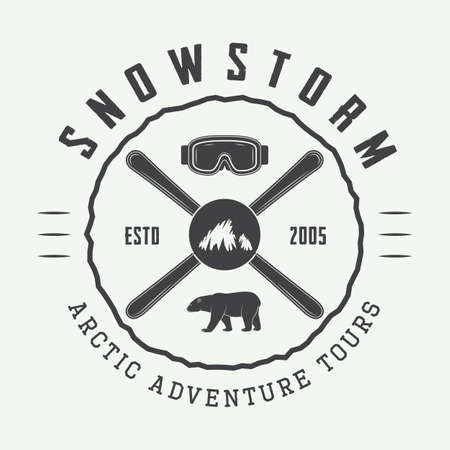 expeditions: Vintage mountaineering and arctic expeditions logos, badges, emblems and design elements. Vector illustration Illustration