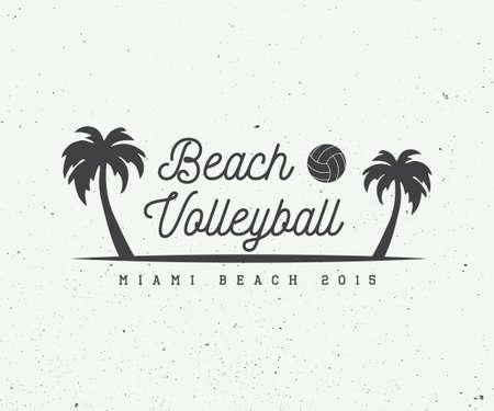 Vintage beach volleyball label, emblem or logo. Vector illustration