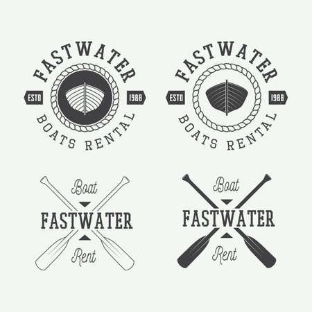 barche: Set di epoca rafting logo, etichette e distintivi. Illustrazione vettoriale Vettoriali