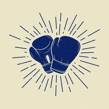 fight: Boxing gloves in vintage style. Vector illustration