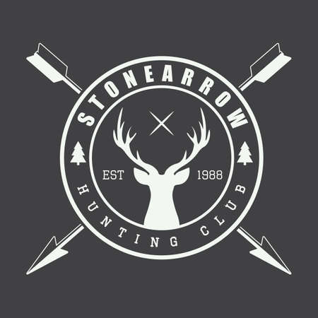 archery: Vintage hunting label, logo or badge and design elements. Vector illustration