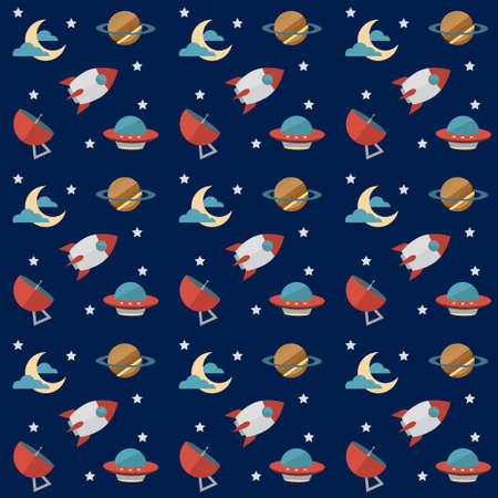 observatory: Seamless Space Pattern With Rockets, Planets, Stars, Scopes,moon, Observatory And Others Equipments, eps 10