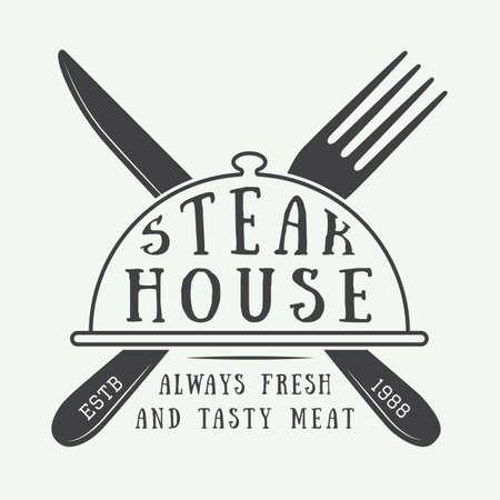 Vintage restaurant logo, badge or emblem. Vector illustration Vettoriali