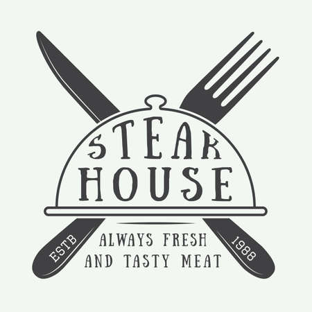 Vintage restaurant logo, badge of embleem. Vector illustratie