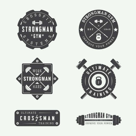 fitness training: Set of gym vector logos, labels and slogans in vintage style