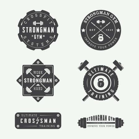 Set van gym vector logo's, labels en slogans in vintage stijl