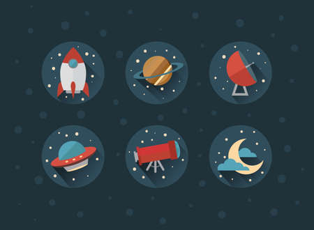observatory: Set of space vector icons, eps 10