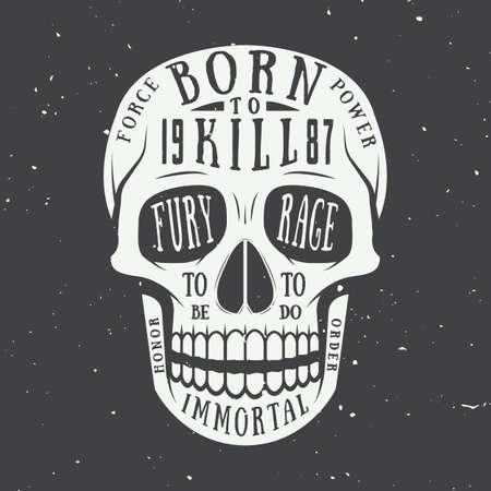 esqueleto: Etiqueta del cráneo de la vendimia, emblema y logotipo. Ilustración vectorial Vectores