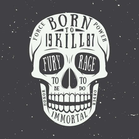 horror: Vintage skull label, emblem and logo. Vector illustration Illustration