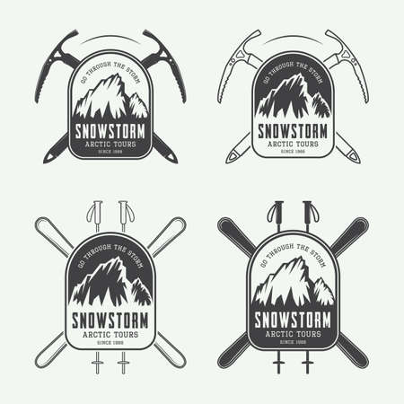 storm: Vintage mountaineering and arctic expeditions logos, badges, emblems and design elements. Vector illustration Illustration