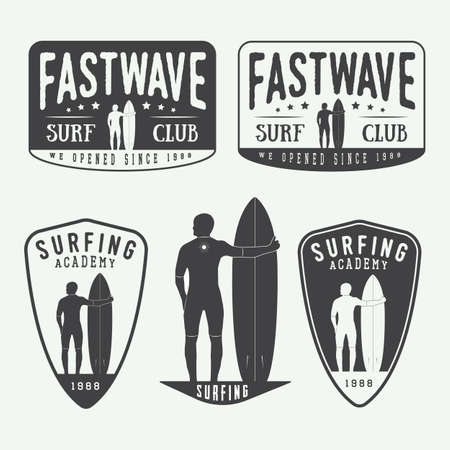Set of surfing logos, labels, badges and elements in vintage style. Vector illustration