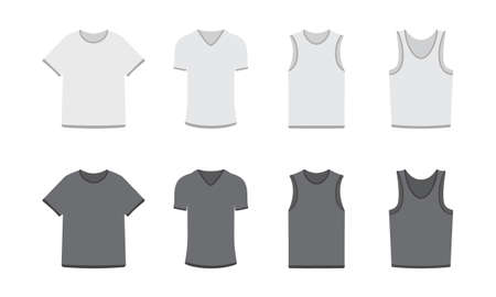 formal wear: Set of different types of t-shirts in dark and light colors, eps 10