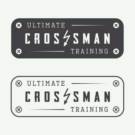 working hands: Set of gym logos, labels, badges and elements in vintage style Illustration