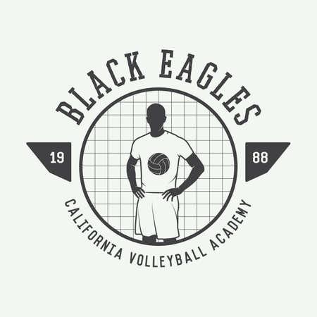 pelota de voleibol: Etiqueta de voleibol de la vendimia, emblema o logotipo. Ilustraci�n vectorial