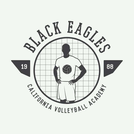 sport balls: Vintage volleyball label, emblem or logo. Vector illustration Illustration