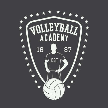 volleyball: Vintage volleyball label, emblem or logo. Vector illustration Illustration
