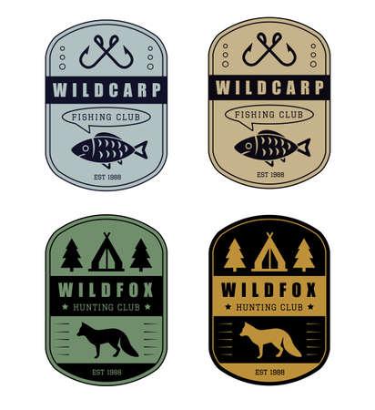 logo de comida: Conjunto de la caza de la vendimia y el logotipo de la pesca Vectores