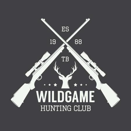 hunt: Vintage hunting label, logo or badge and design elements. Vector illustration