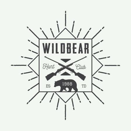 shoot: Vintage hunting label, logo or badge and design elements. Vector illustration