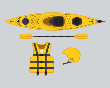 rows: Yellow flat rafting vector set, eps 10 Illustration