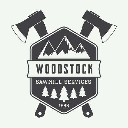 lumberman: Vintage sawmill logo with axes, rocks, trees Illustration