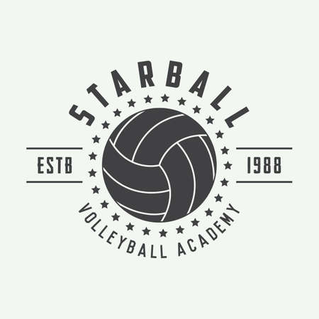 Vintage volleyball label, emblem or logo. Vector illustration Vettoriali