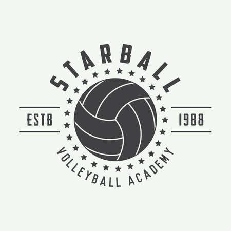 voleibol: Etiqueta de voleibol de la vendimia, emblema o logotipo. Ilustración vectorial