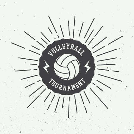 beaches: Vintage volleyball label, emblem or logo. Vector illustration Illustration