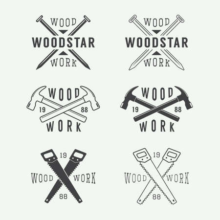 carpintero: Conjunto de la carpintería de la vendimia y las etiquetas mecánico, emblemas y logotipo