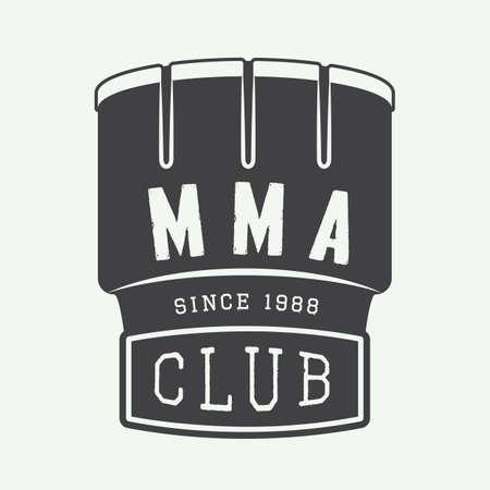 artes marciales mixtas: Vintage artes marciales mixtas logotipo, insignia o emblemas. Ilustración vectorial