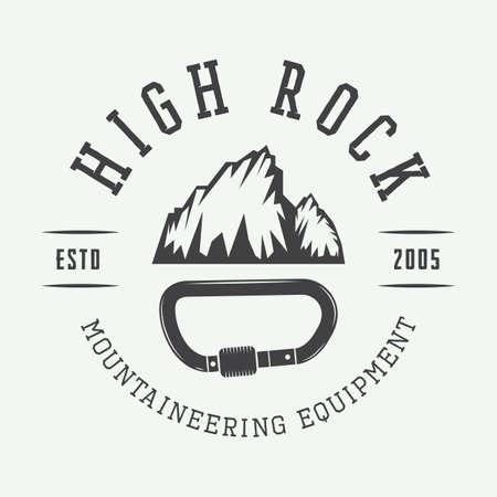 mountaineering: Vintage mountaineering logo, badge, emblem. Vector illustration