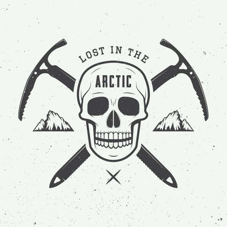 skull logo: Vintage arctic skull with ice axes, mountains and slogan. Vector illustration