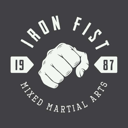 puños cerrados: Boxeo y artes marciales logotipo, insignia o etiqueta de estilo vintage. Ilustración vectorial