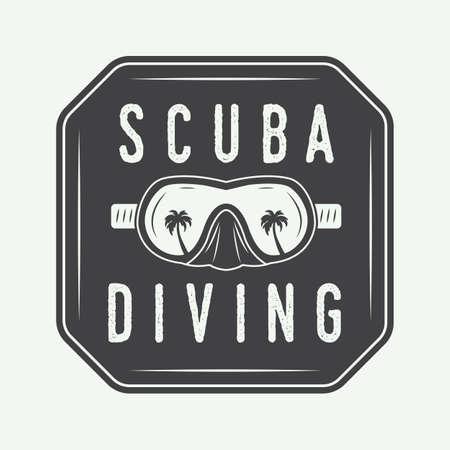 flippers: Diving logo, label in vintage style. Vector illustration