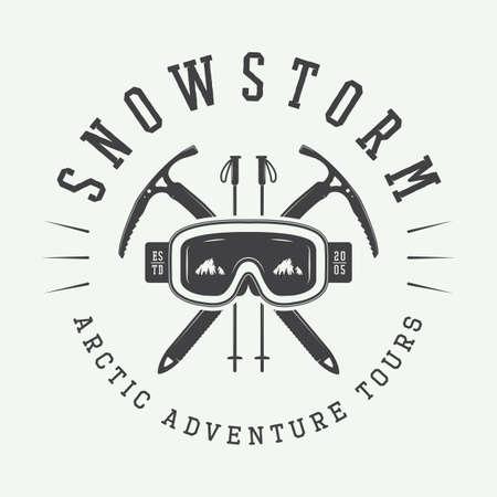arctic: Vintage arctic mountaineering logo, badge, emblem. Vector illustration