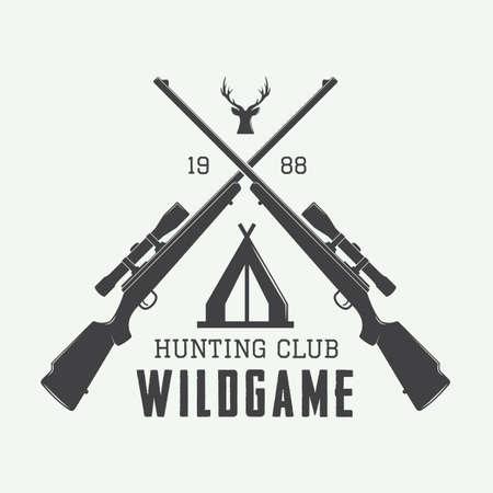 cazador: Etiqueta de la caza de la vendimia, logotipo o insignia y elementos de diseño. Ilustración vectorial
