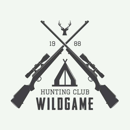 Vintage hunting label, logo or badge and design elements. Vector illustration