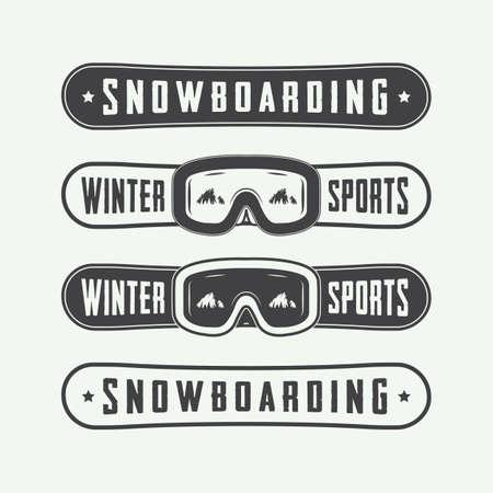 ski: Vintage snowboarding logos, badges, emblems and design elements. Vector illustration